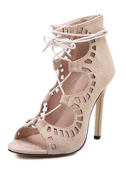 Apricot High Heel Hollow Sandals