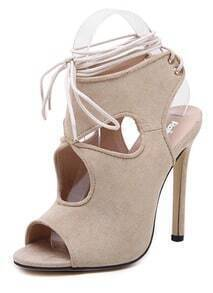 Apricot Ankle Straps Hollow High Heel Sandals