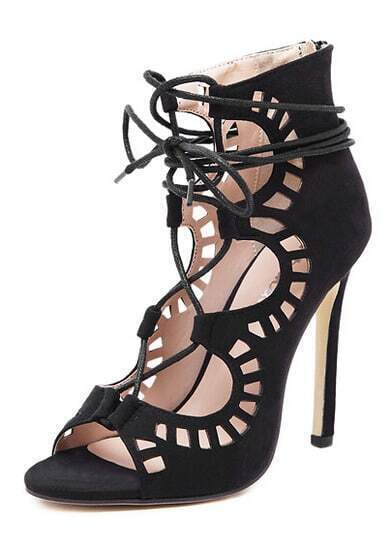 Black High Heel Hollow Sandals