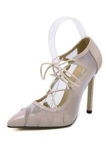 Apricot High Heel Sheer Point Toe Pumps