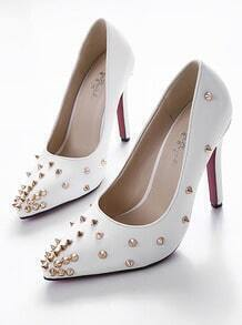 White Stiletto High Heel Rivet PU Pumps