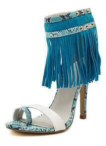 Blue White High Heel Snakeskin Tassel Sandals