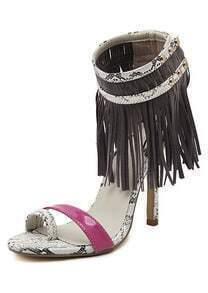 Grey Red High Heel Snakeskin Tassel Sandals