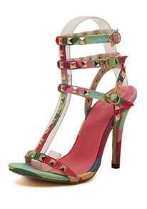 Multicolor High Heel Rivet Sandals