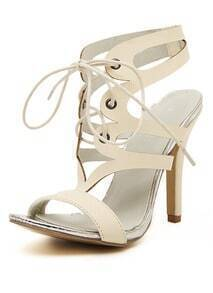 Apricot High Heel Shoelace PU Sandals