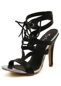 Black High Heel Shoelace PU Sandals