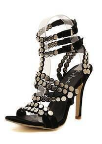Black High Heel Buckle Metal Embellished Sandals