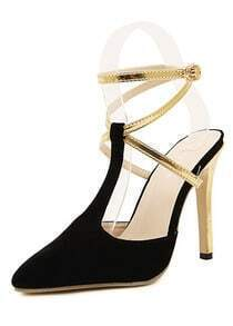 Black High Heel Buckle Strap Pumps