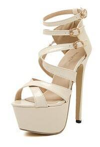 Apricot Stiletto High Heel Buckle Strap Sandals