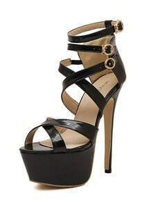 Black Stiletto High Heel Buckle Strap Sandals