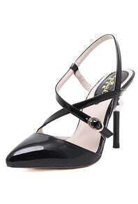 Black High Heel Buckle Strap Point Toe Pumps