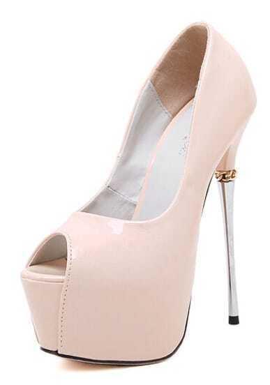 Nude Stiletto High Heel Peep Toe Pumps