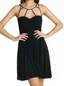 Black Spaghetti Strap Slim Pleated Dress