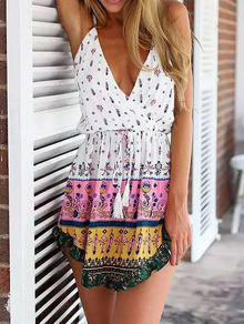 White Criss Cross Back Floral Backless Dress