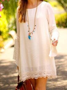 White Long Sleeve Lace Loose Dress