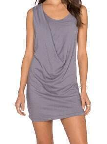 Grey Round Neck Sleeveless Slim Dress