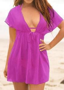 Purple Deep V Neck Sheer Beach Dress