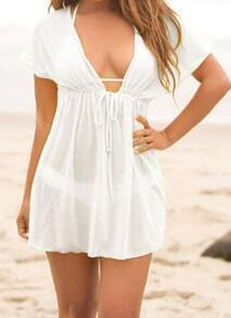 White Deep V Neck Sheer Beach Dress