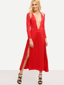 Red Sateen Deep Multiway Boobs V Neck Split Stunning Maxi Dress