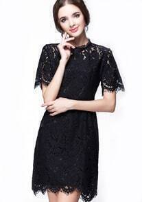 Black Round Neck Hollow Lace Slim Dress