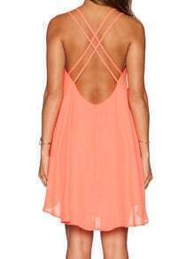 Pink Criss Cross Back Backless Loose Dress