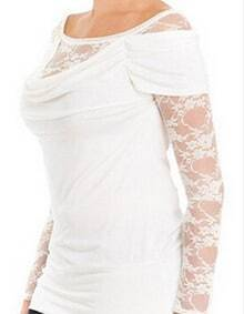 White Sheer Lace Long Sleeve Slim Blouse