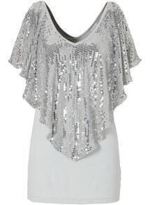 Grey V Neck Sequined Slim Blouse