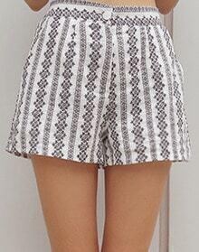 Black White Vintage Floral Shorts