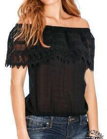 Black Boat Neck Lace Slim Blouse
