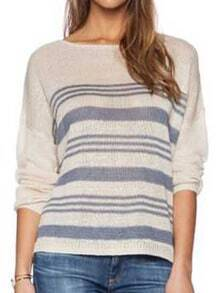 Apricot Long Sleeve Striped Knit Loose Sweater