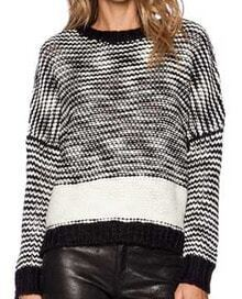Black Long Sleeve Knit Crop Sweater