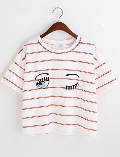 Red White Eyes Print Striped Crop T-Shirt