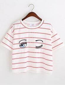 Red White Eyes Print Striped Crop T-Shirt