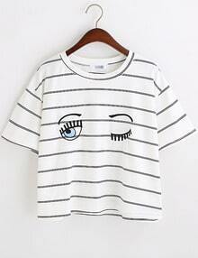Navy White Eyes Print Striped Crop T-Shirt