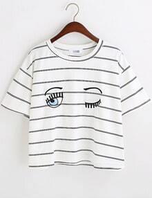 Navy White Eyes Print Striped Crop T-Shirt