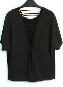 Black Round Neck Hollow Back Loose T-Shirt