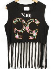 Black Round Neck Digital Print Tassel Tank Top