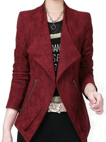 Wine Red Lapel Zipper Casual Blazer pictures