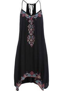 Black Spaghetti Strap Embroidered Loose Dress