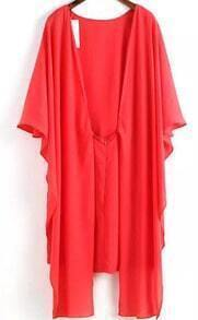 Butterfly Sleeve Cape Red Dress