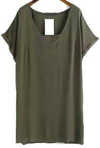V Neck Shift Army Green Dress