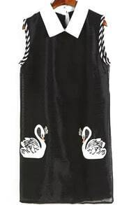 Contrast Collar Swan Embroidered Black Dress