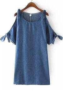 Open Shoulder Knotted Denim Dress