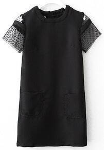 With Pockets Embroidered Black Dress