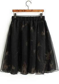 Elastic Waist Bird Print Chiffon Skirt