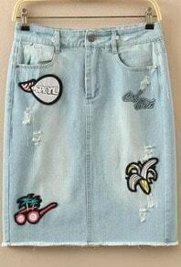Embroidered Patch Denim Light Blue Skirt