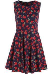 Navy Round Neck Sleeveless Floral Pleated Dress