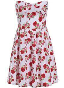 White Strapless Floral Slim Flare Dress