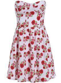 White Strapless Floral Slim Flare Dress
