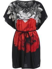 Black Batwing Sleeve Floral Tie-waist Dress